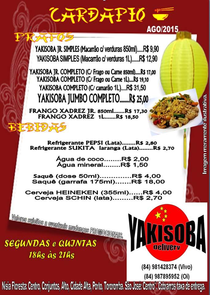 Cardápio de Agosto Yakisoba Delivery