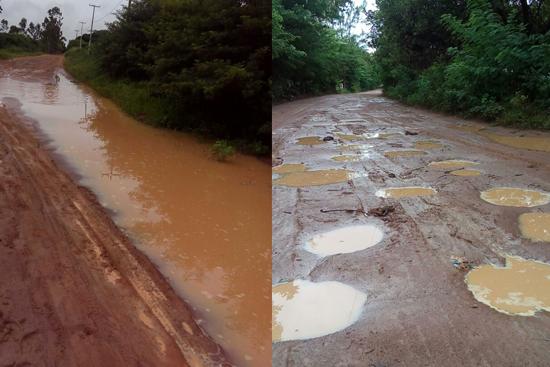 Estradas após chuvas em Nísia Floresta