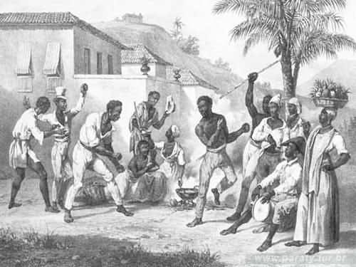 Escravos jogando capoeira